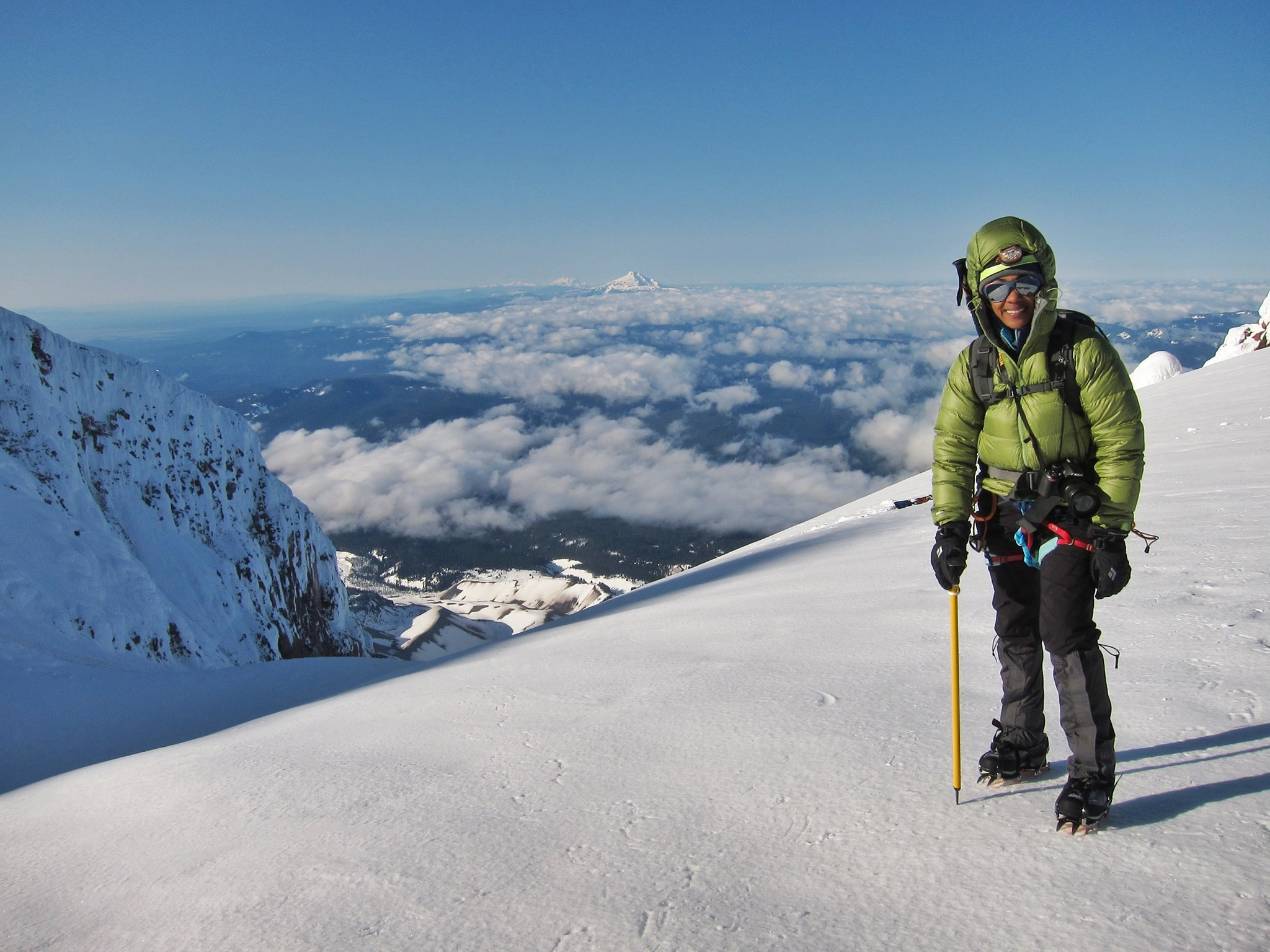 Prior to her expedition in the Georgian Caucuses, the author climbed stratovolcanoes in the Pacific Northwest United States like Mt. Hood ( Wy'East)  which is pictured here.  Photo courtesy of Rebecca Ross