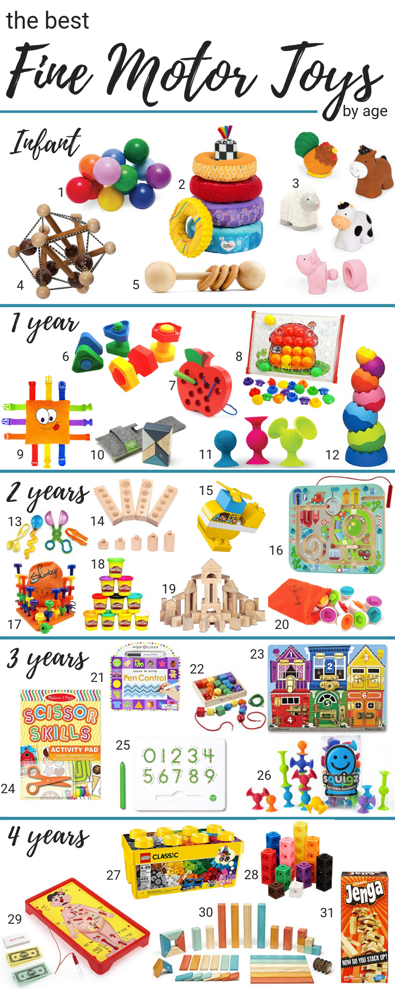 The Best Toys for Fine Motor Skills in Children ages 0-4. This post may contain affiliate links. Please see my full  disclosure policy  for details.
