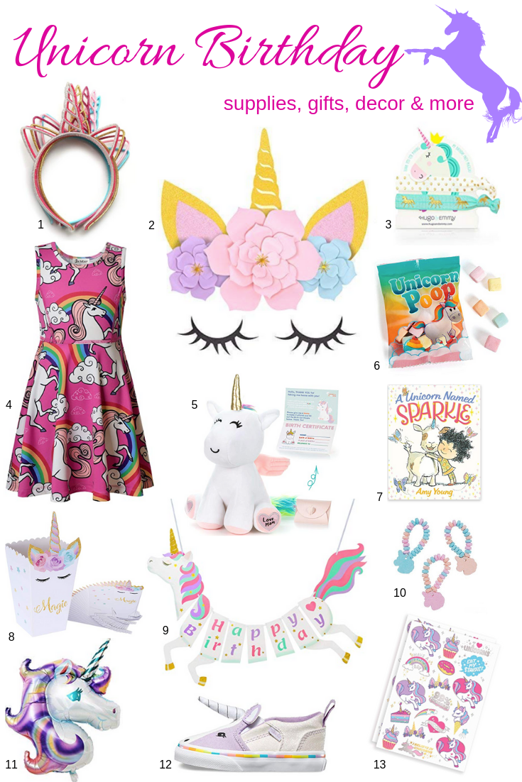 Gifts, apparel, favors, decor and more for the most magical unicorn birthday party. This post may contain affiliate links. Please see my full  disclosure policy  for details.
