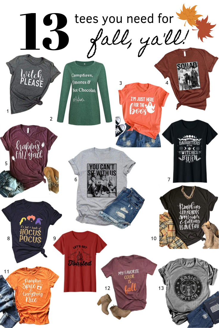 13 women's graphic tees perfect for fall. This post may contain affiliate links. Please see my full  disclosure policy  for details.