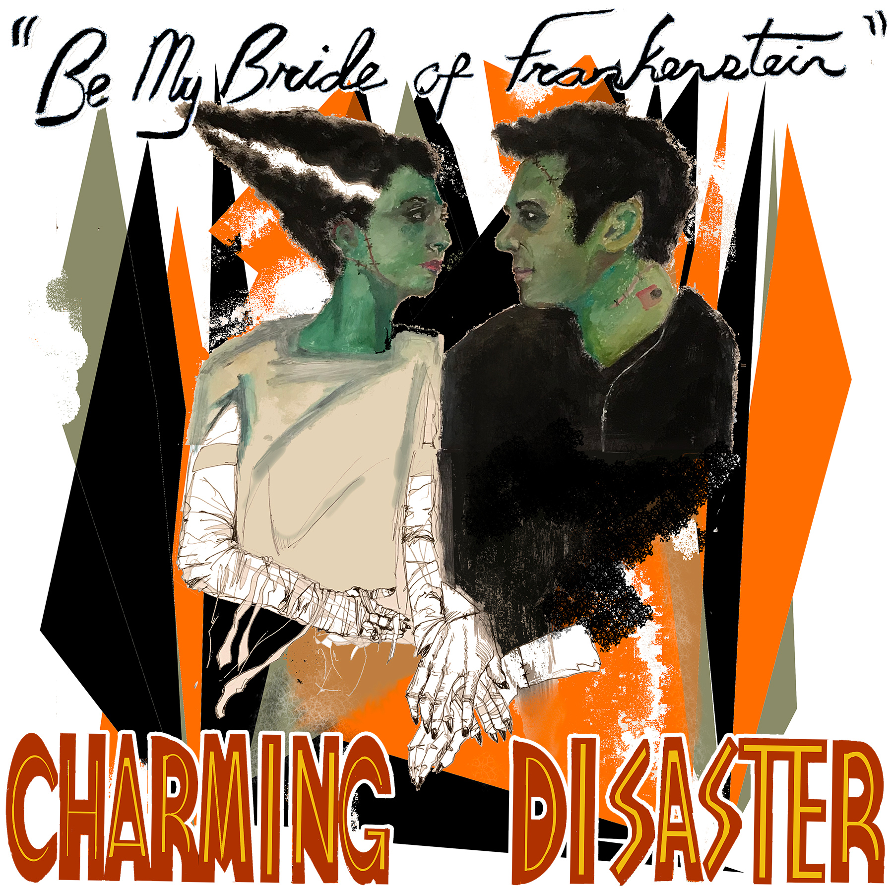 "It's Alive!!! - Charming Disaster's ""Be My Bride of Frankenstein"" is a monstrous love song inspired by retro novelty rock, channeling classic Halloween hits by way of Nick Cave & PJ Harvey -- or Boris Karloff & Elsa Lanchester.In their latest single, Charming Disaster follow in the tradition of goth-rockers like the Cramps, Bauhaus, and Siouxsie & the Banshees, nodding to spooky hits like Monster Mash and Werewolves of London, with a little Munsters and Addams Family thrown in. It's the perfect number to include on any Halloween (or wedding) playlist.""Be My Bride of Frankenstein"" is out now and will be included on Charming Disaster's forthcoming third album, SPELLS + RITUALS.Artwork by Logan Riley"