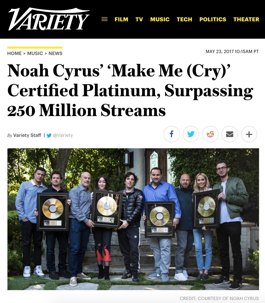 Variety's website   Noah Cyrus certified multi platinum photos