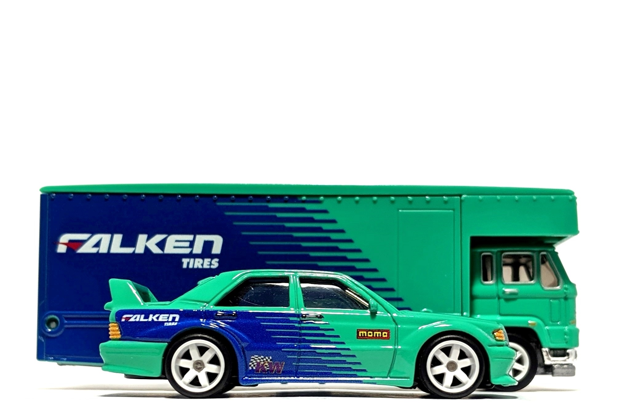 "Mercedes-Benz 190E & Fleet Flyer ""Falken Tires"" - Hot Wheels Team Transport"
