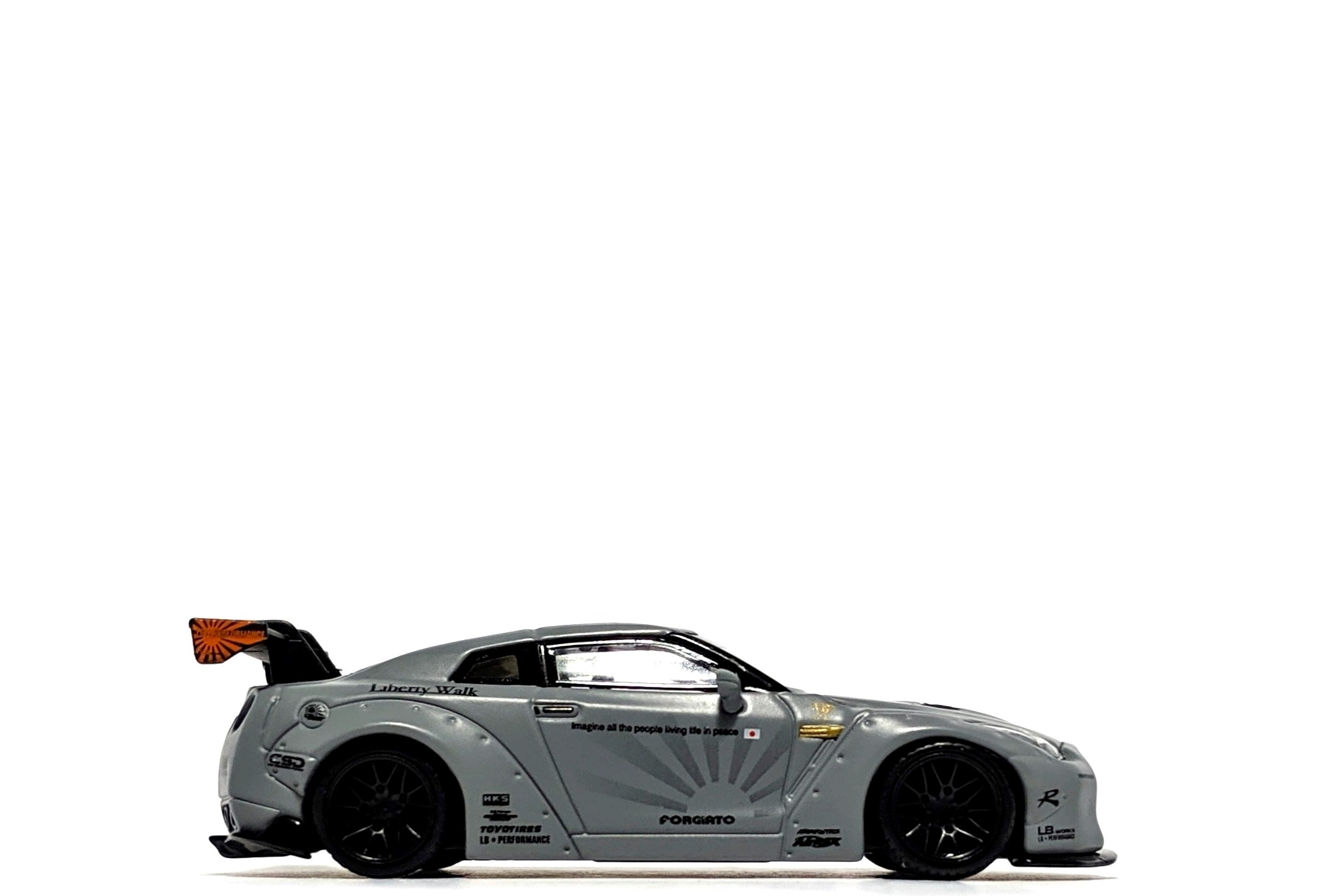 LB-Works Nissan GT-R in Matte Grey, by Mini GT