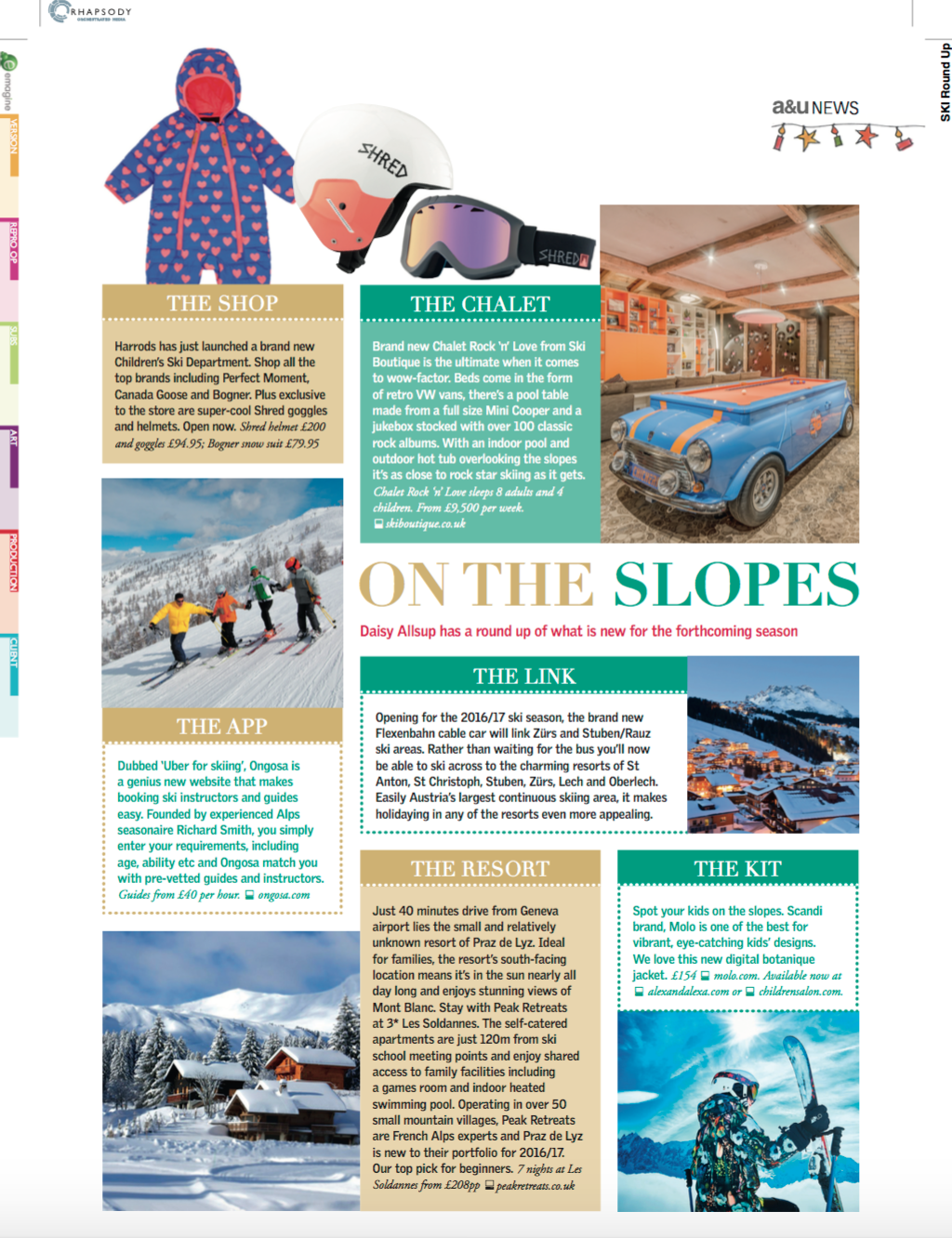 News from the Slopes. angels & urchins magazine, winter 2016