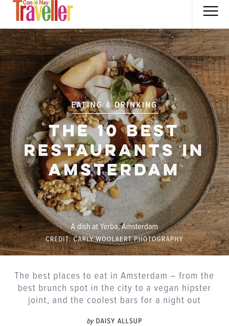 The Best Restaurants in Amsterdam,  Conde Nast Traveller  June 2018