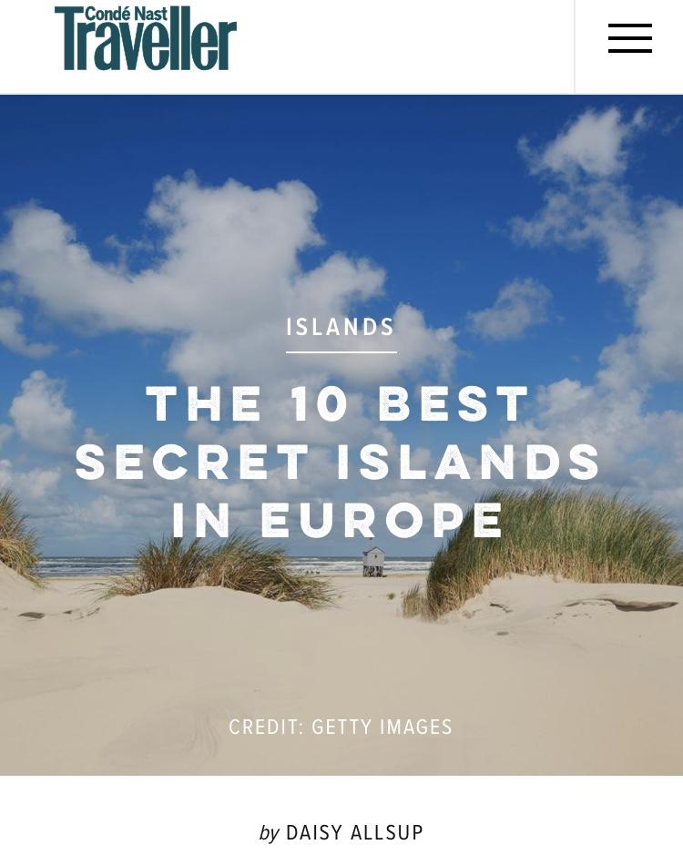The Best Secret Islands in Europe,  Conde Nast Traveller , August 2018