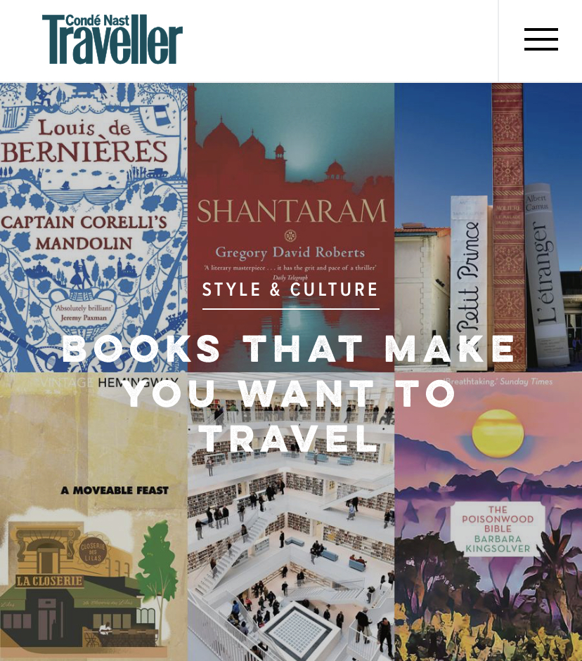 Amsterdam, Cephalonia and Cartagena for Books That Make You Want to Travel,  Conde Nast Traveller , December 2018
