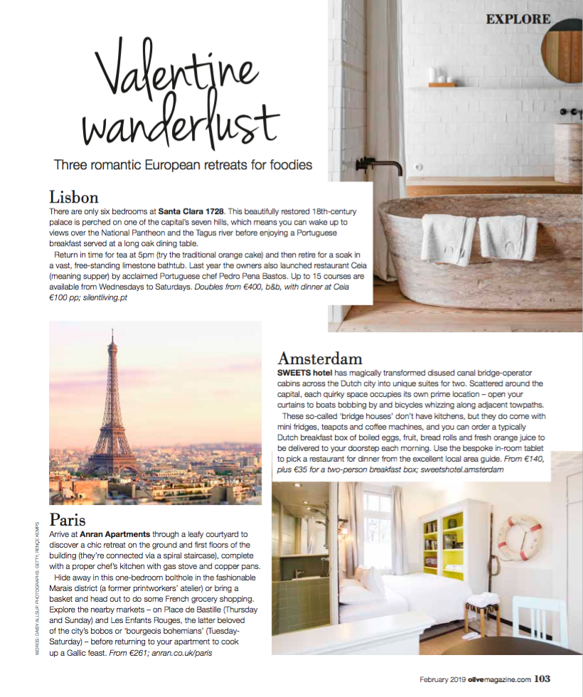 Romantic Retreats,  Olive Magazine  February 2019