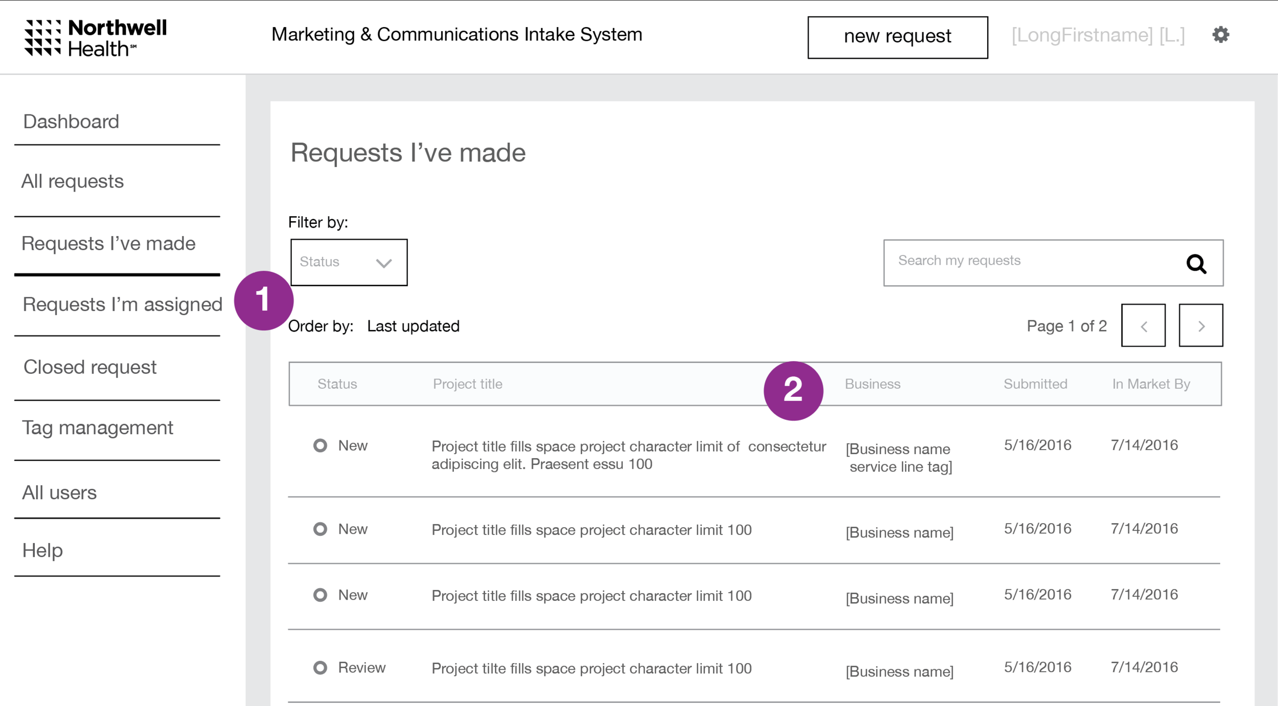Admin user type request list view, wireframe detail