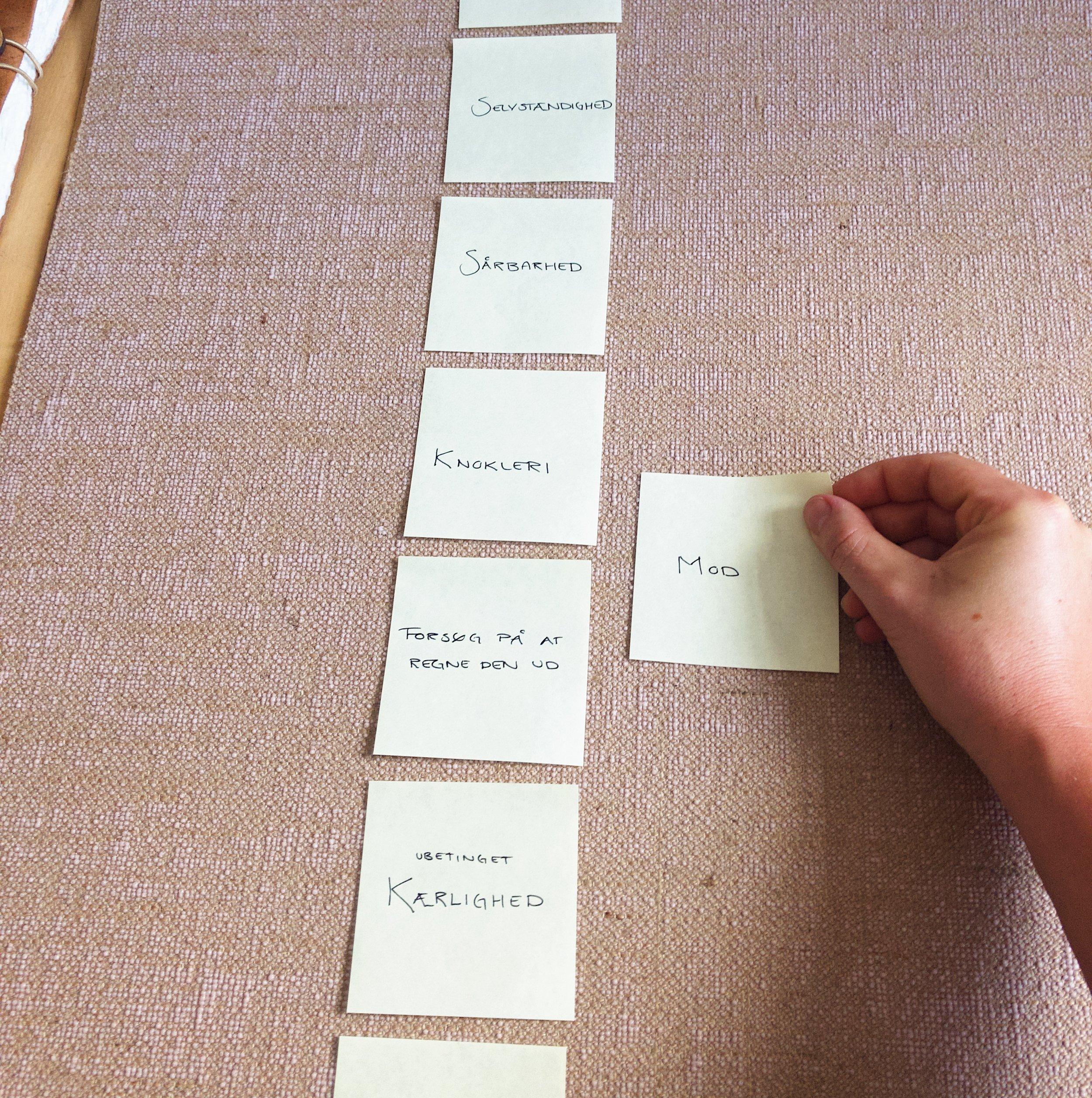 3. Prioriter dine værdier - Mærk efter hvilke værdier/væremåder, der har fyldt mest ved at sammenholde dem to og to indtil de har en prioriteret liste med omkring 8 værdier.