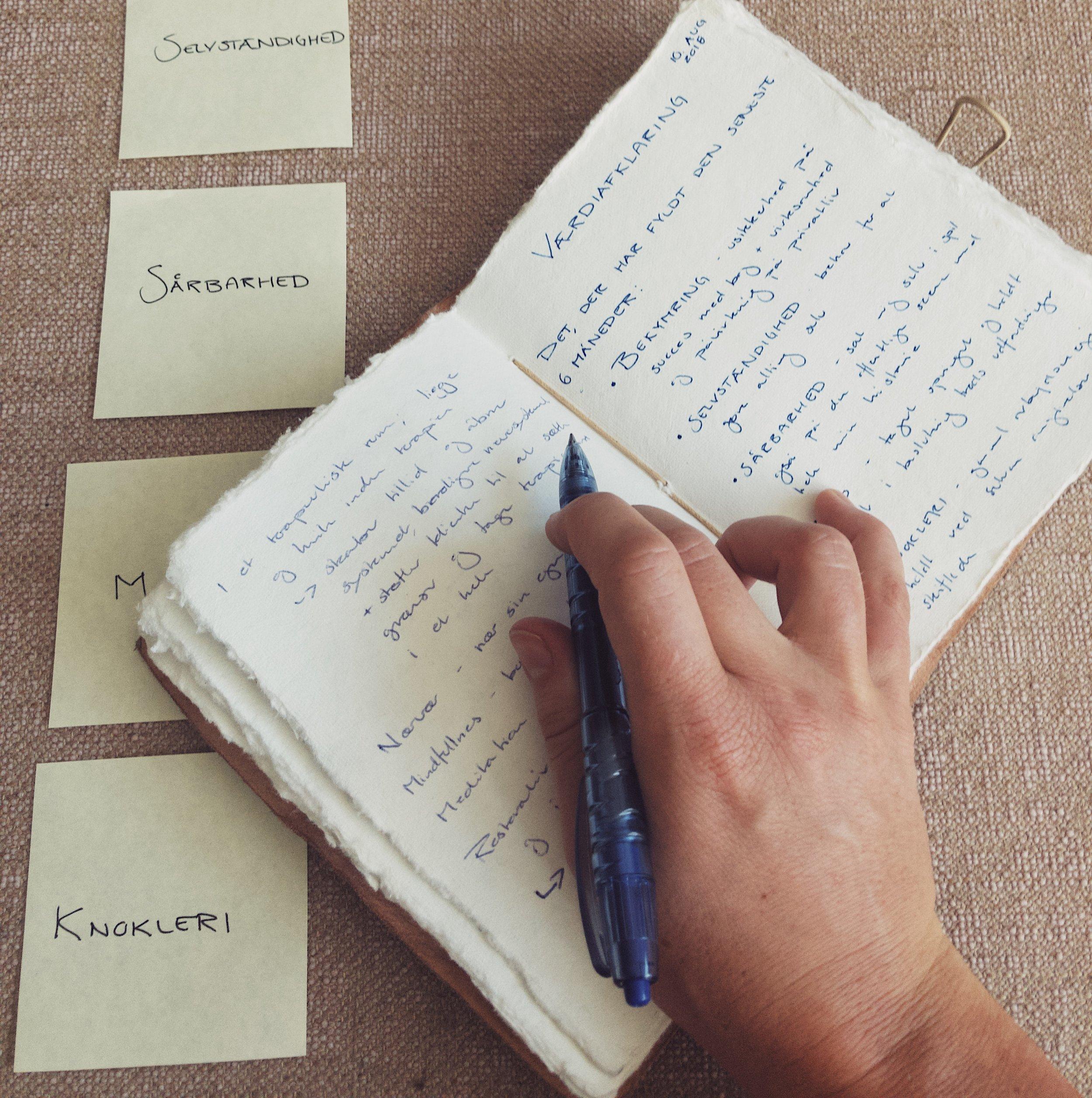 4. Beskriv dine værdier - Notér i din notesbog hvad de 8 værdier/væremåder, der har fyldt mest, betyder for dig. Vær så specifik som muligt.