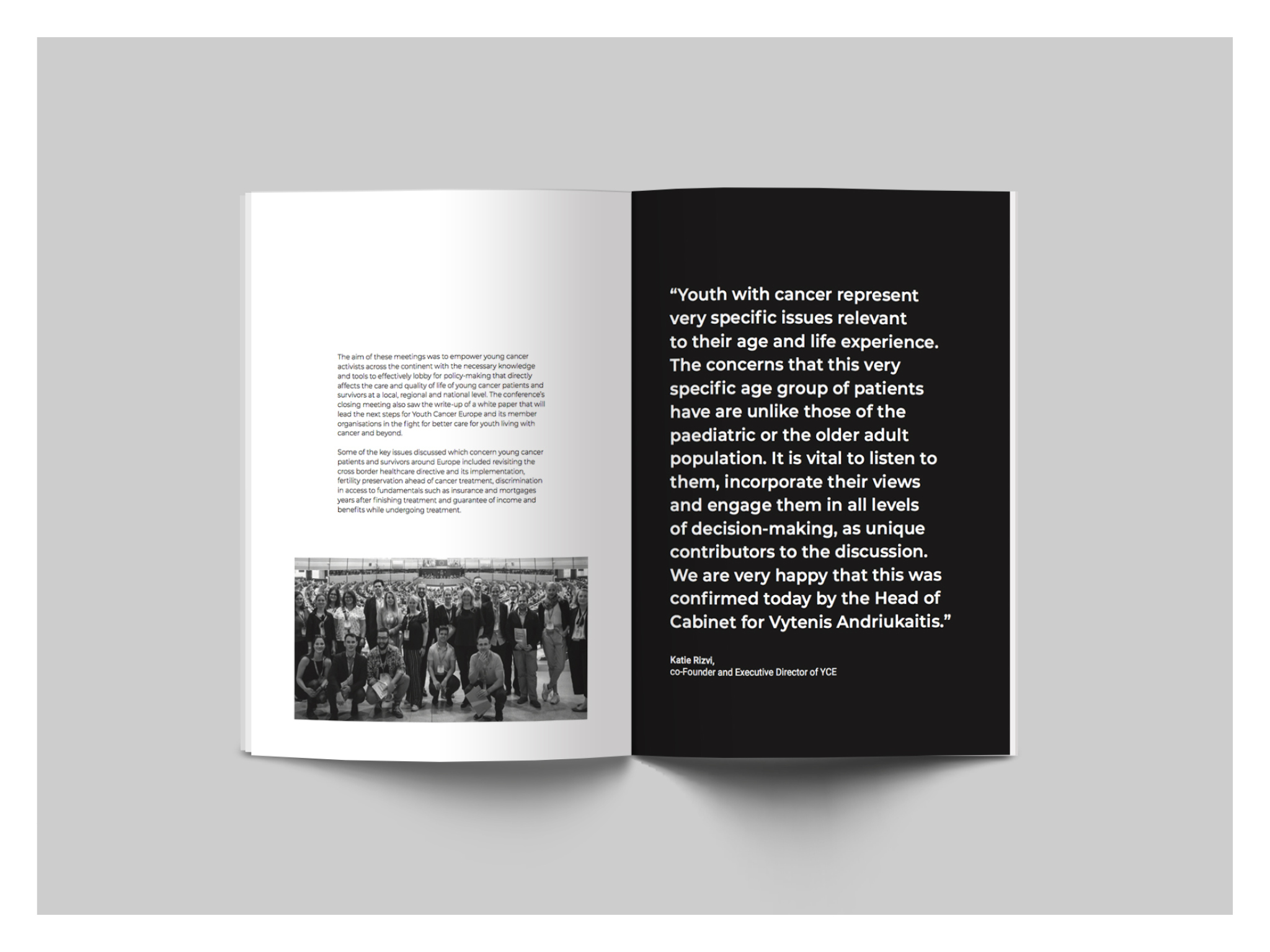 Annual report - Design for the 2018 Annual report for the Youth Cancer Europe