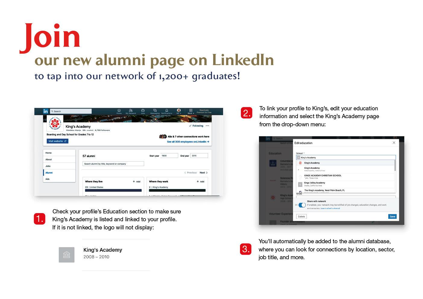 King's Academy Alumni Page on LinkedIn instructions