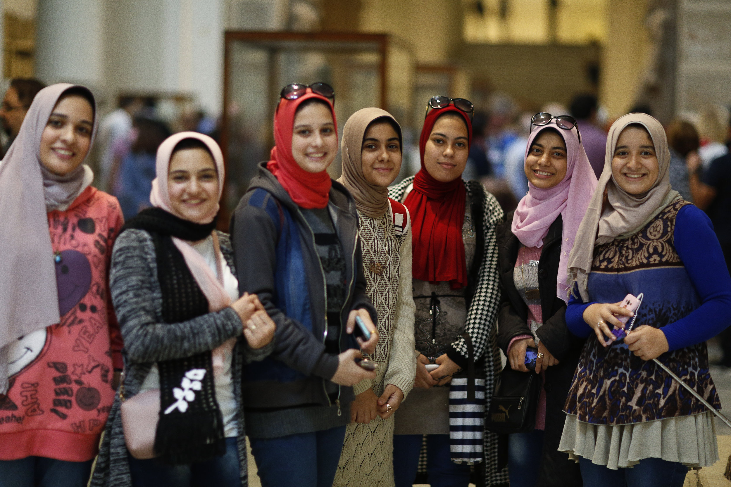 Young girls visiting Egyptian Museum in Cairo. -