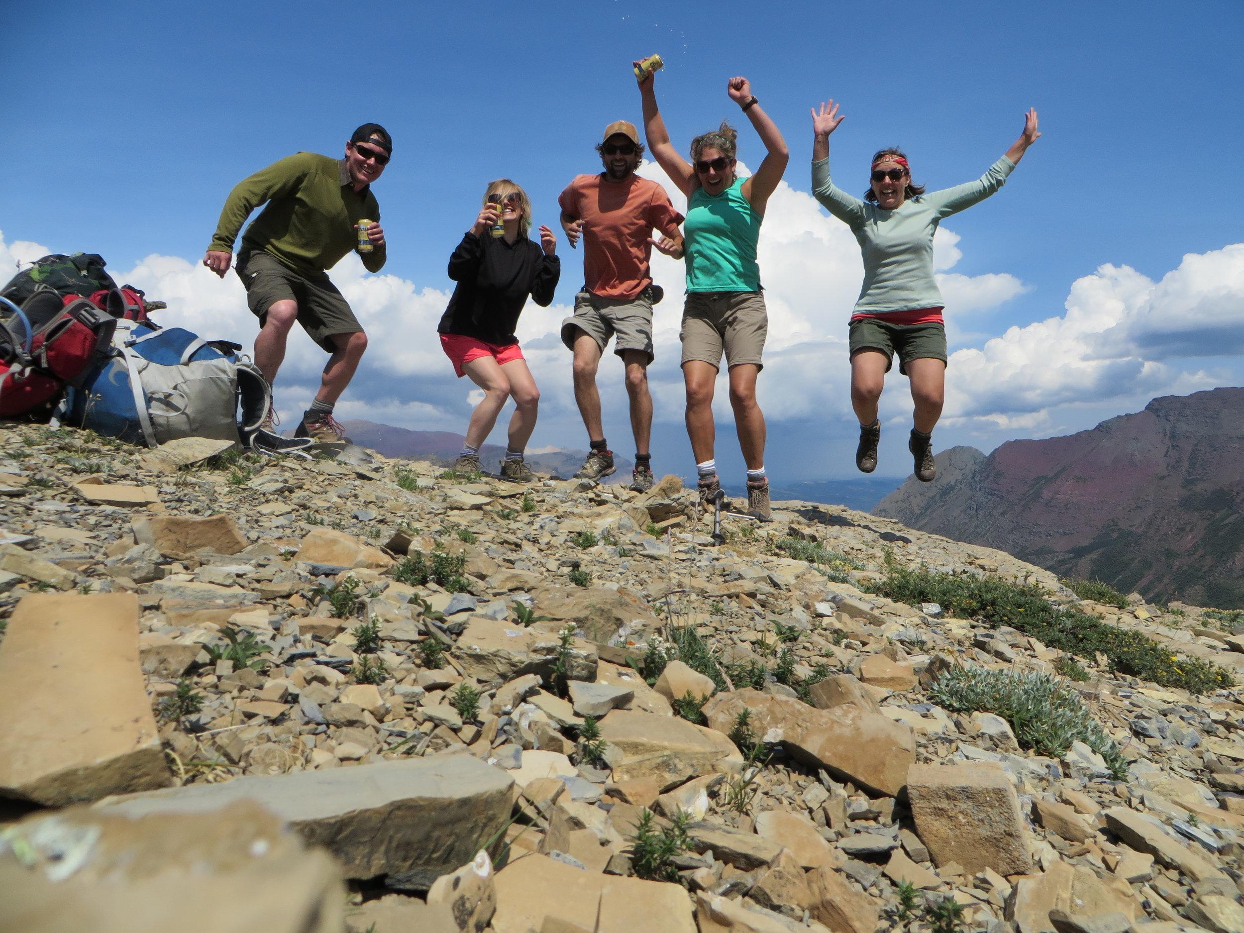 Celebrating on the summit of Angel Wing - Many Glacier - Glacier National Park