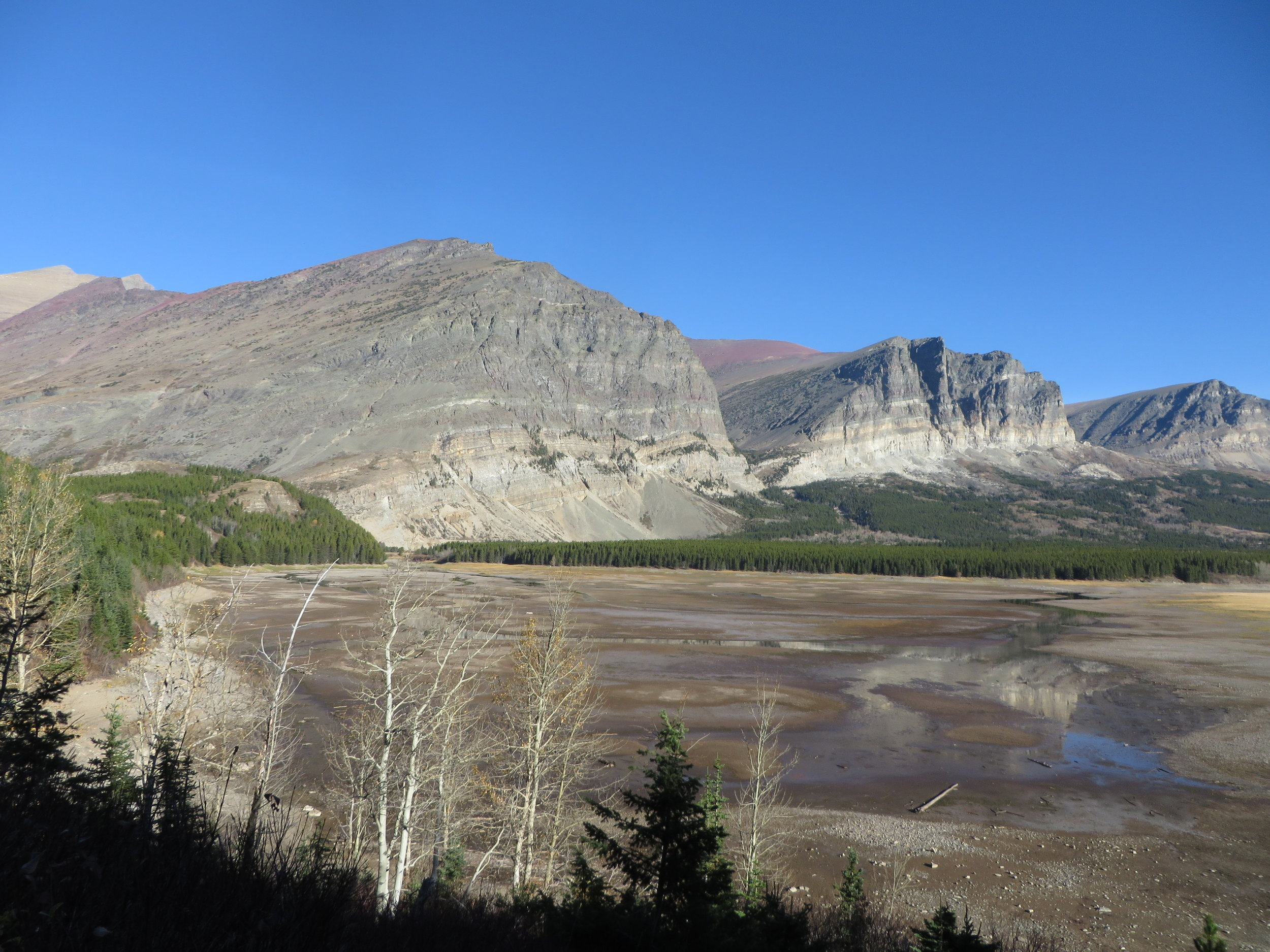An almost-dry Cracker Flats, with the current Mt. Altyn in the background