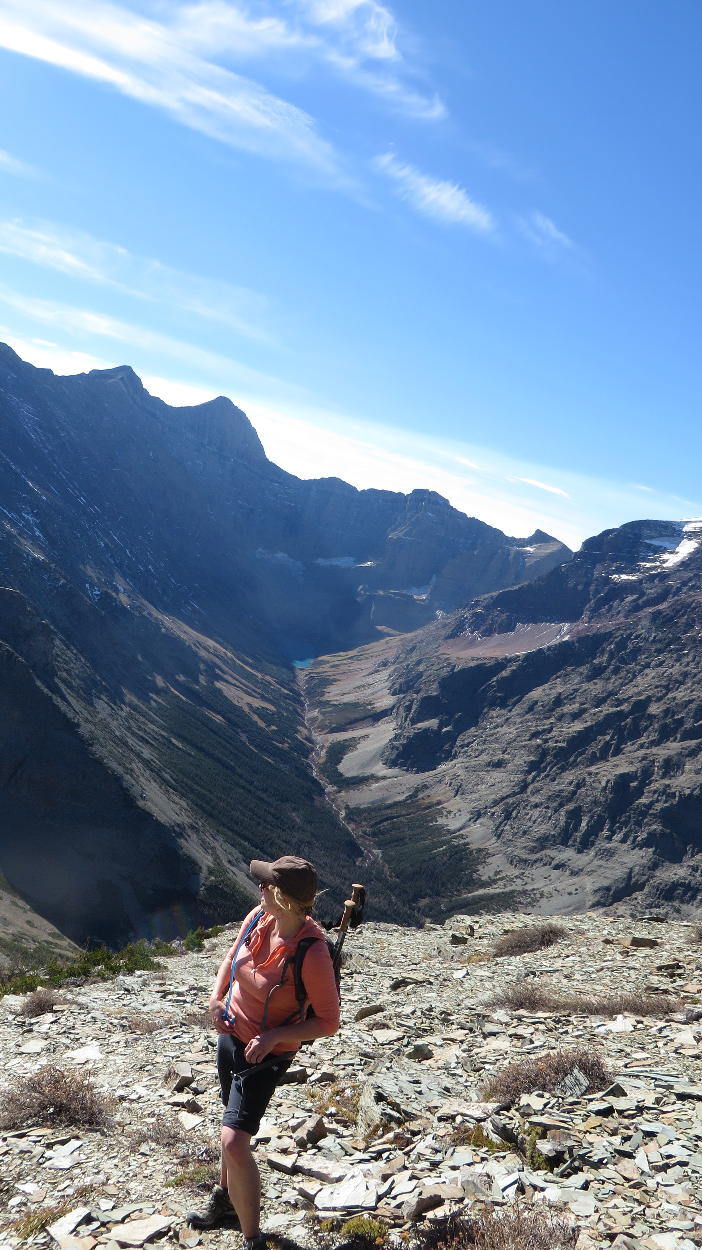 Working our way up the southwest ridge of Mt. Wynn, with Cracker Lake and Mt. Siyeh in the background