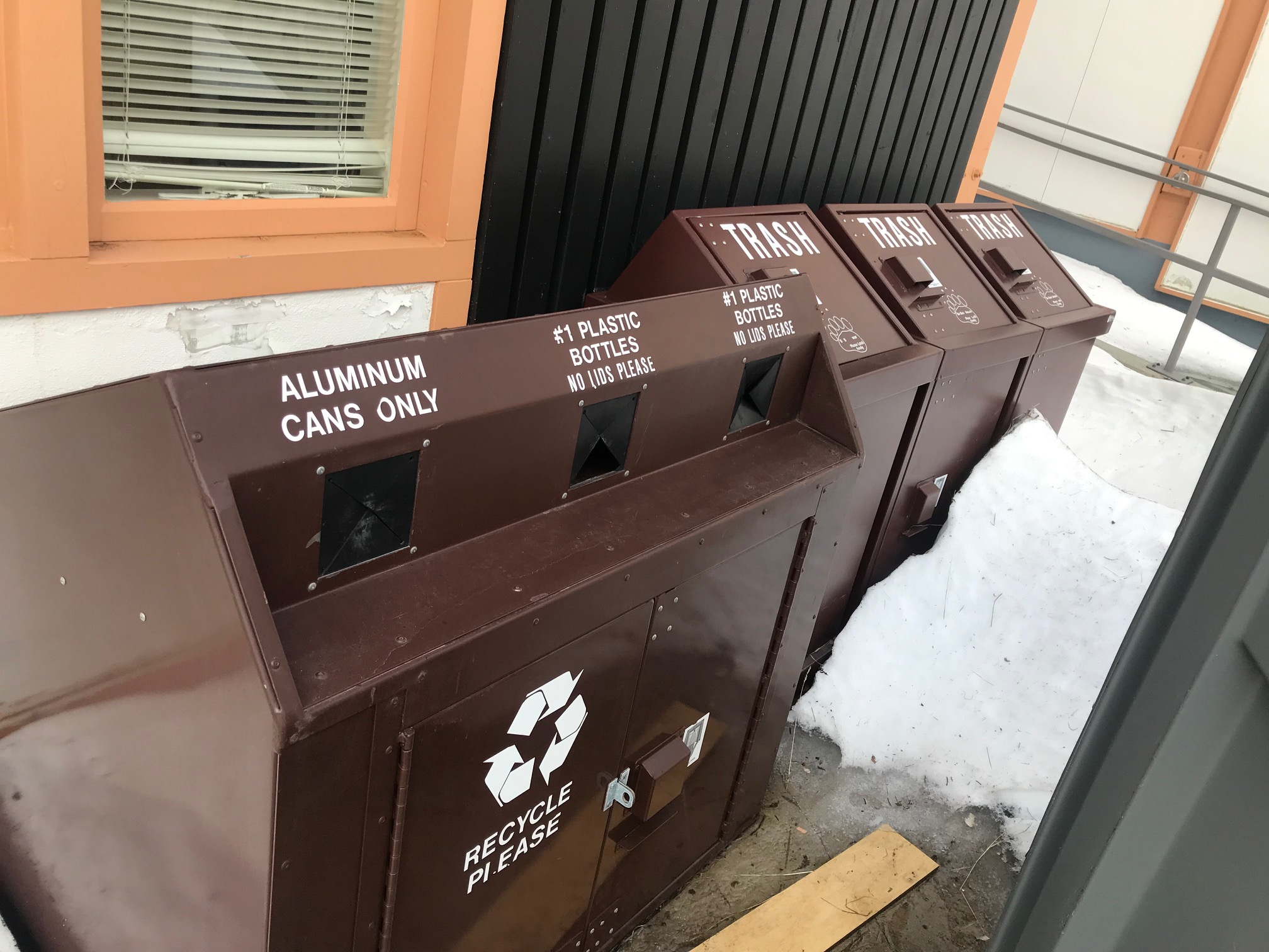 The trash and recycling were all nearly empty, so we left them as they were.
