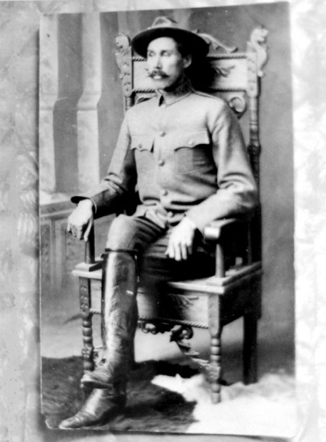 Park Ranger Joe Cosley poses in uniform for an official park service portrait in 1912.  NPS Archive Photo.