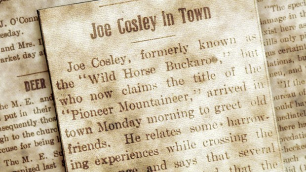 """A typically """"Joe Cosley is in town"""" notice from March 31, 1910- there are dozens of updates in the Columbia Falls papers during Joe's time near Glacier. He was particularly prompt on updating the public if his mailing address happened to change."""