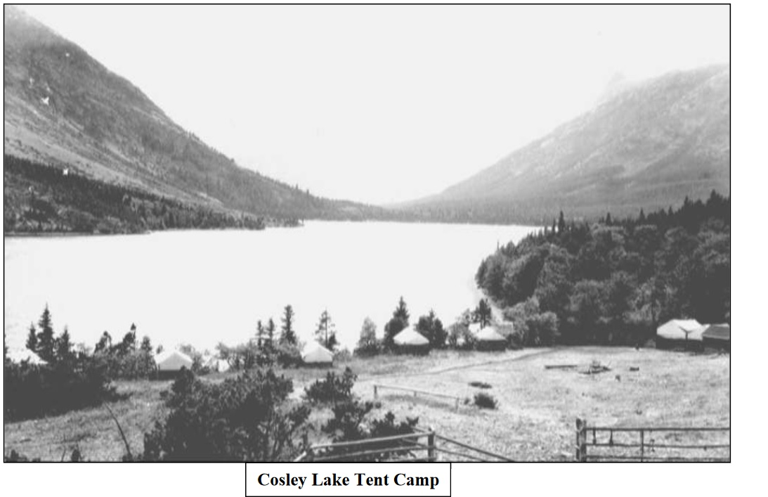 Unfortunately the magnificent mountainous backdrop is obscured in this 1920 photo of what was then called Crossley Lake Tent Camp, just east of the current Cosley Campsite. Photo R.E. Marble.