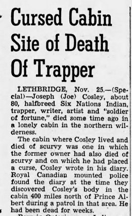 News of Cosley's demise published in the Great Falls Tribune on November 26, 1944.