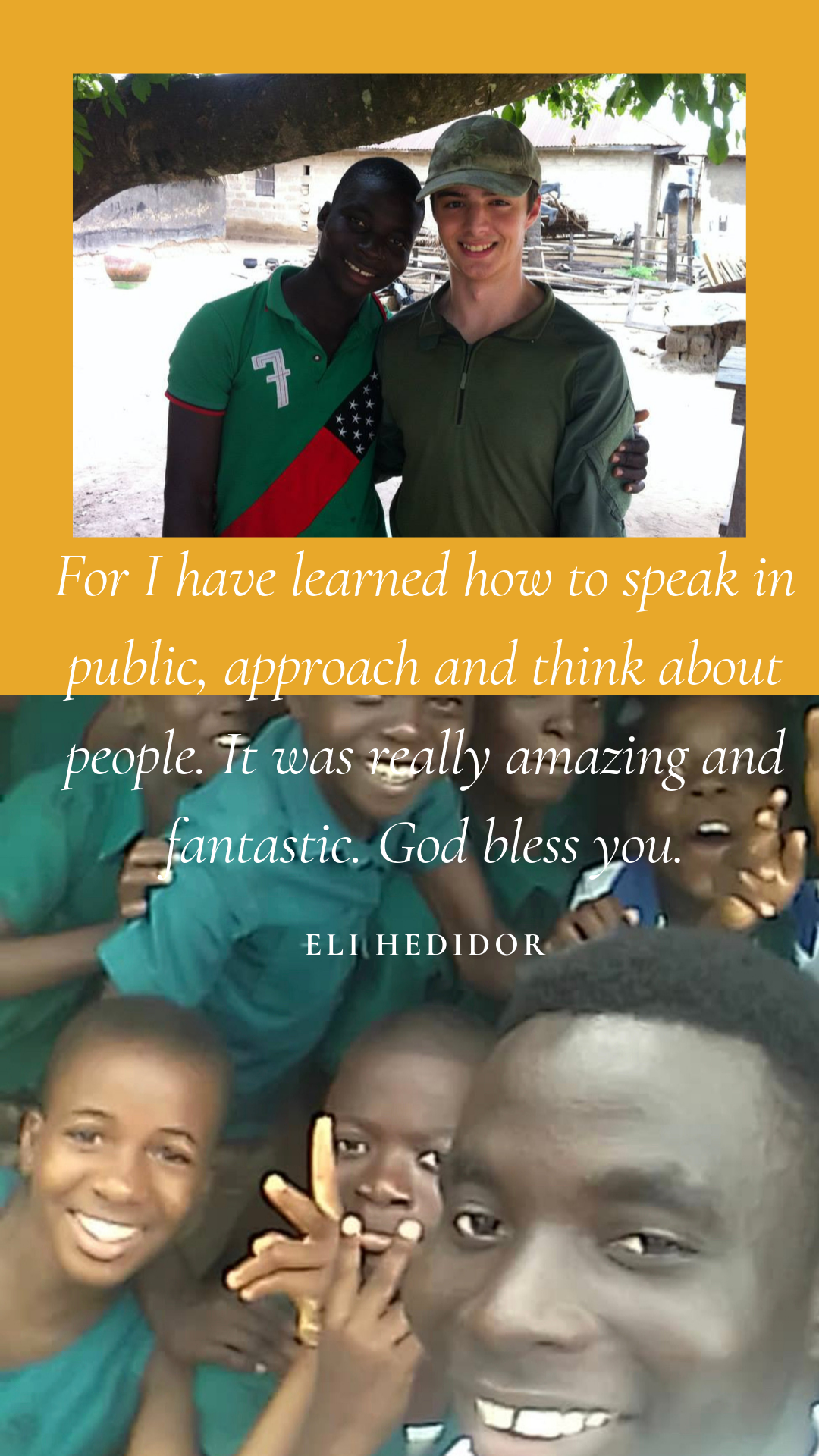Eli volunteering in 2014 & and CIH Intern in 2019.