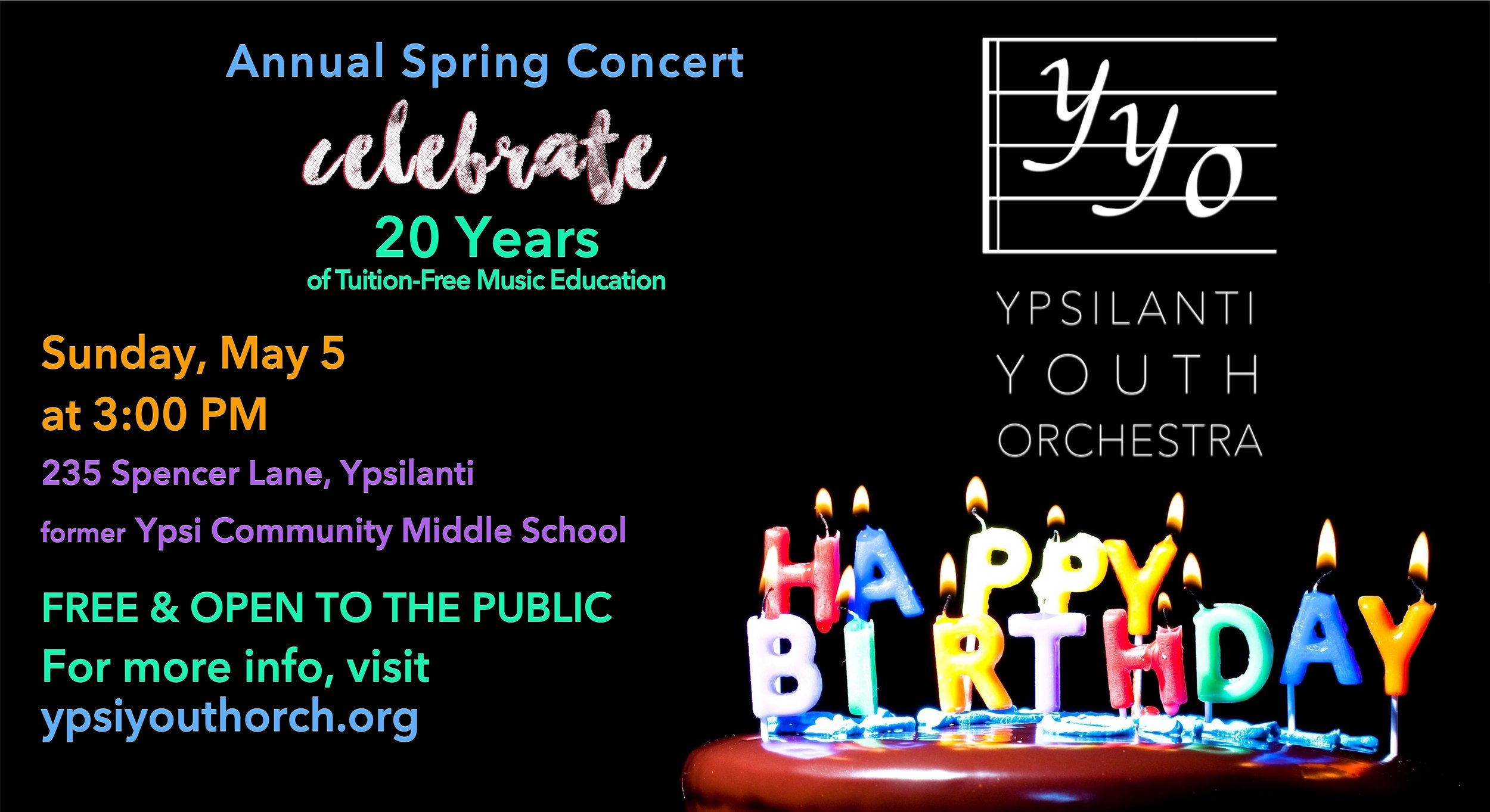 Our Next Concert! - Celebrate 20 years of the Ypsilanti Youth Orchestra with musical classics from our past! The orchestra and our pre-orchestra classes will play favorites, and a reception will follow for friends and families of the YYO. Be sure to support our children today!