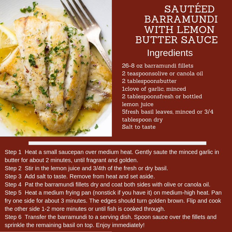 Sauteed Barramundi with Lemon Butter Sauce