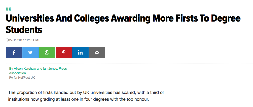 C/o Huffington Post (27-Nov-17) Universities are Awarding More Firsts