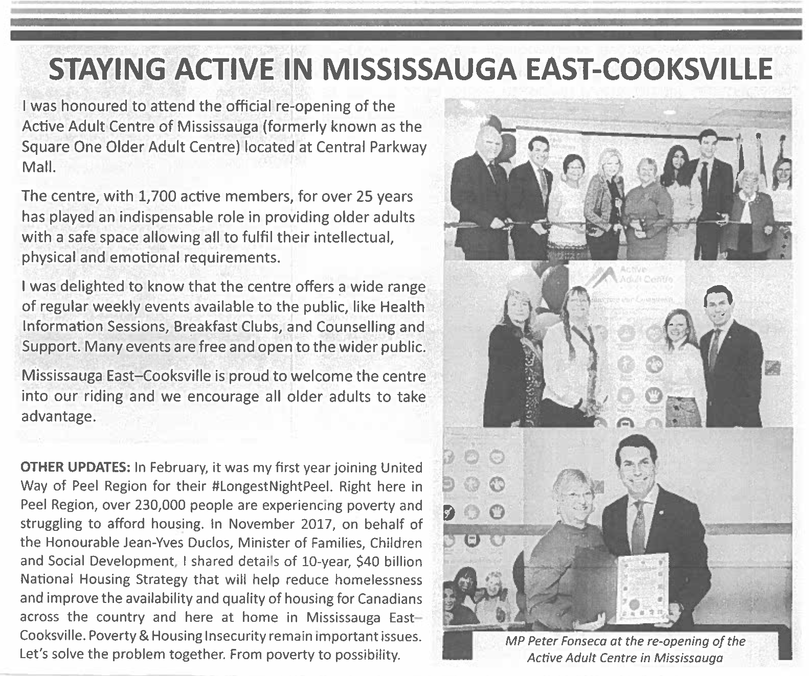 Peter Fonseca - Member of Parliament - Mississauga East-Cooksville | Spring 2018 Newsletter