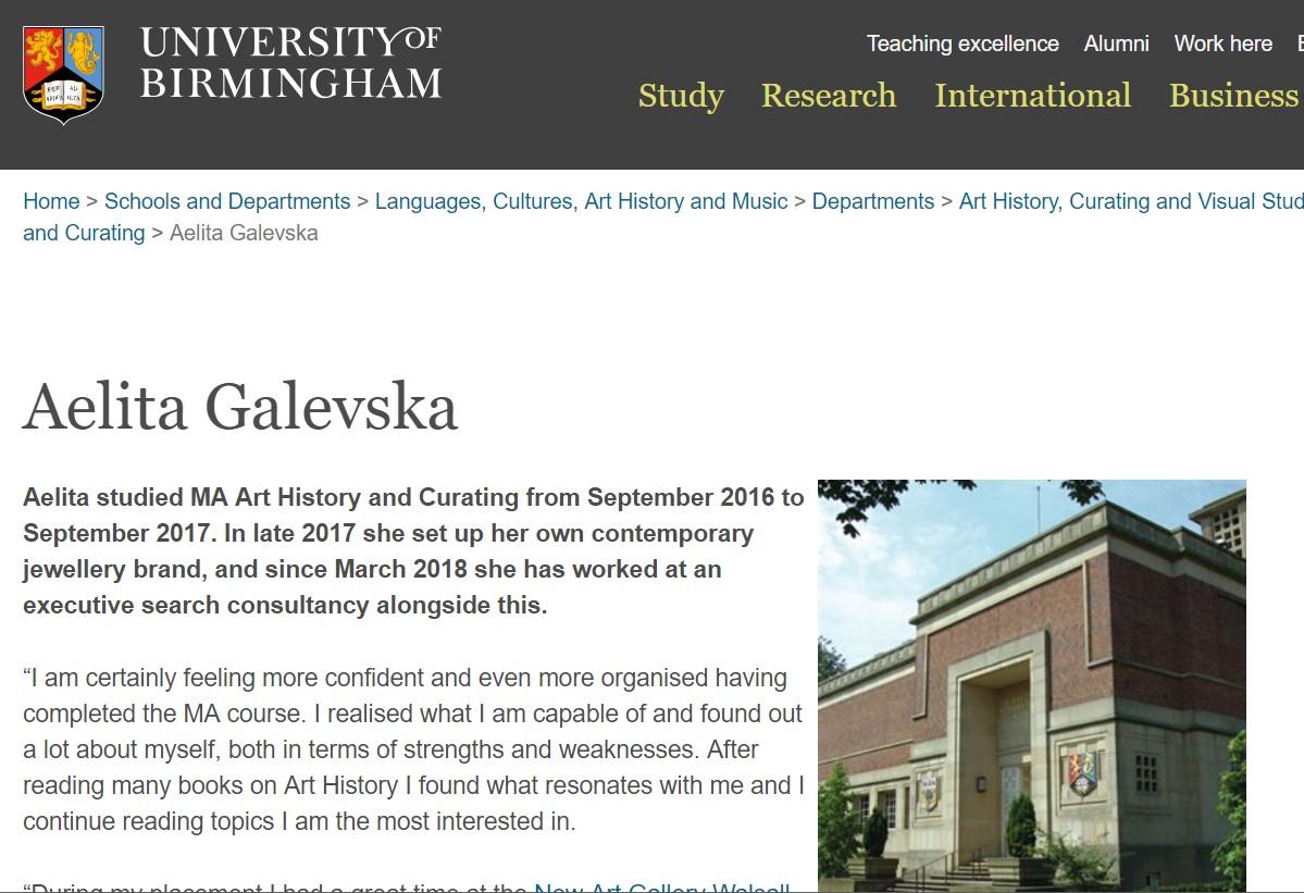 aelita jewellery university of birmingham art history and curating