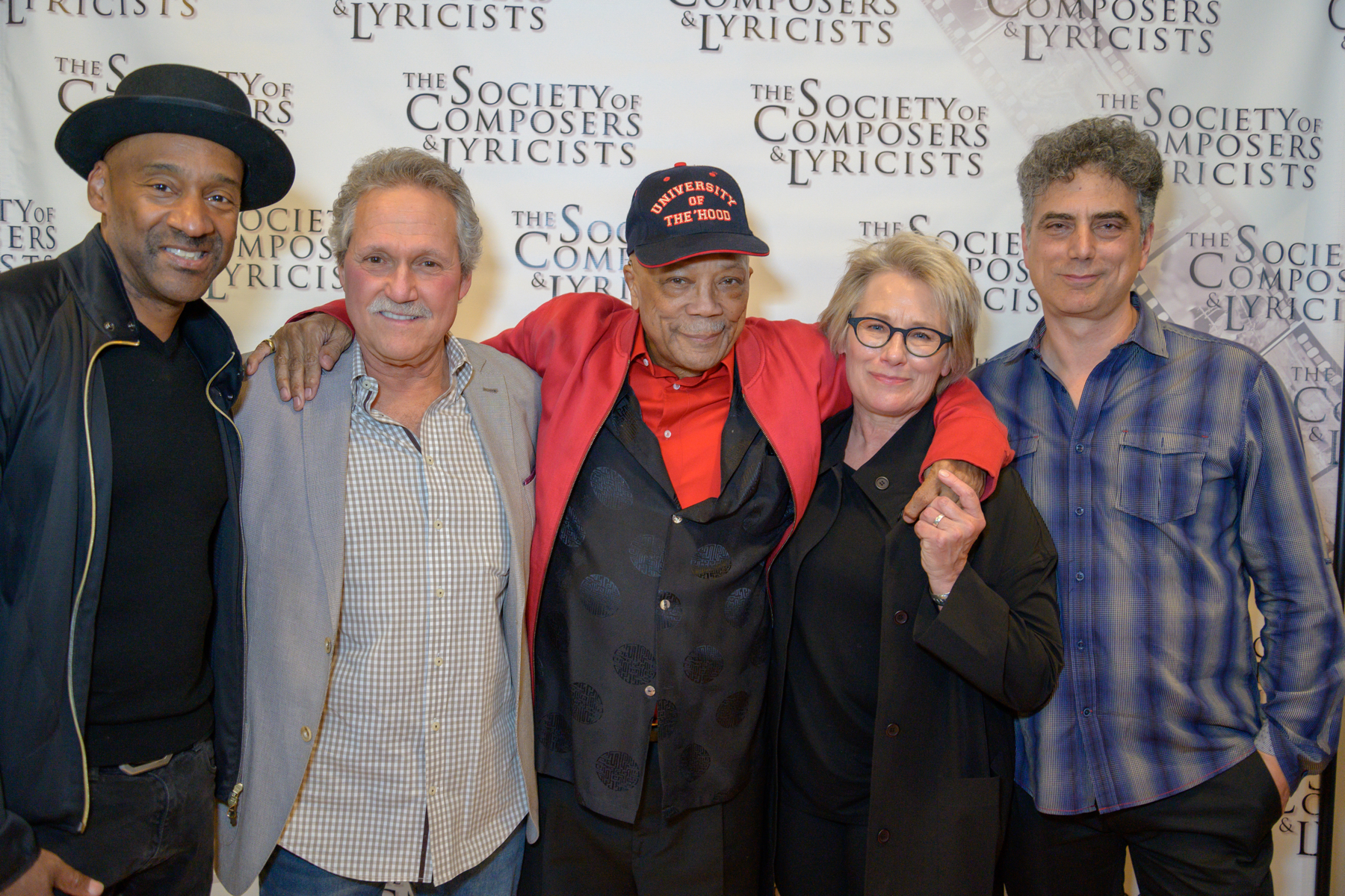 L-R: Marcus Miller (in the film), Joel Sill (Exec. Music Consultant), Quincy Jones (in the film), Barbara Bentree (Director), John Rangel (Producer) at Screening for Society of Composers and lyricists in Los Angeles