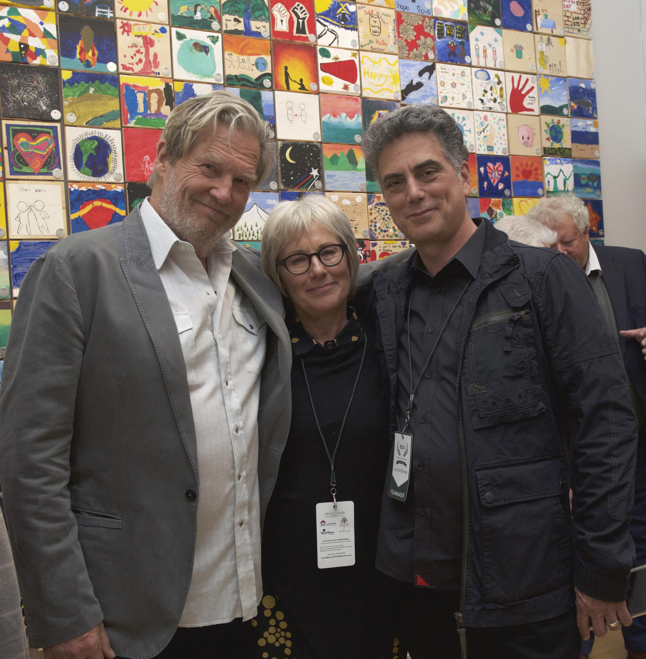 Oscar winner Jeff Bridges (featured in film) Director Barbara Bentree and Producer John Rangel before Q&A Panel with Dave Grusin at the Bozeman International Film Festival