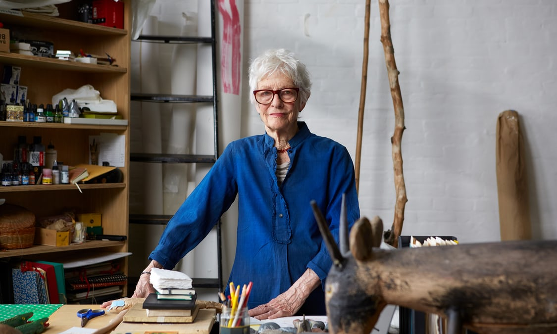Joan Jonas in her studio in New York City.Photograph:Mike McGregor for the Observer