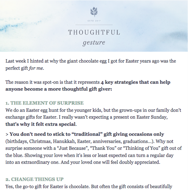 Thoughtful Gesture Newsletter
