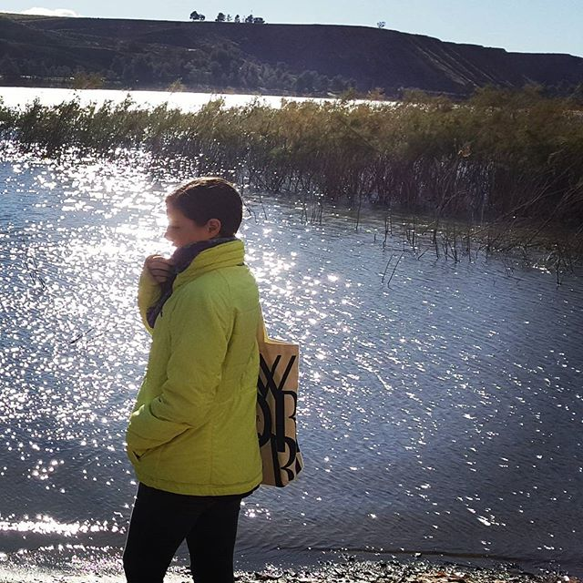 Dori's discovering how cold Castaic Lake can be on a January day. #locationscoutinglikeaboss