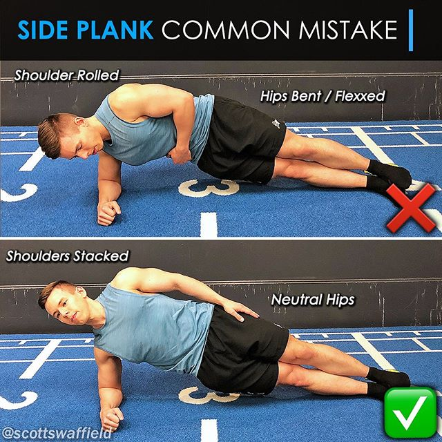 """🔹Cleaning Up Your Side Planks🔹 ⠀⠀ The beauty of plank variations is that they can be done without any equipment and challenge more than just the midsection when done properly. In my opinion side planks are one of the most complete core exercises you can do. Not only do they target the obliques but they involve the highly overlooked quadratus lumborum (QL) muscles along the sides of the lower back which play a key role in preventing lower back pain. ⠀⠀ 1️⃣ Keep the hips neutral 2️⃣ Maintain a straight spine 3️⃣ Shoulders stacked vertically 4️⃣ Vision focused straight ahead ⠀⠀ The big mistake most people make here is in forgetting that Planks are not only for the midsection. The """"core"""" refers to everything that holds your spine together, all the way up to the neck. A plank done properly will also be challenging the supporting musculature around the shoulder joint just as much as the midsection. By rounding the shoulders or letting your spine curve forwards you are eliminating half of the exercise and losing out on many of its benefits. ⠀⠀ Clean up your side Planks with a few small tweaks and get ready to see the improvements in full body stability. If you struggle with the shoulder stability portion of the exercise, try using the free arm to cup the supporting shoulder keeping it pulled tight into the socket. ⠀⠀ Do you like to use Planks in your training?"""