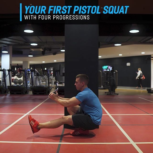 """🔹Get Your First Pistol Squat🔹 ⠀⠀⠀⠀⠀⠀⠀ So I'm a going to showing you a few of the different methods I use for progressing clients into a pistol squat. Depending on the sticking point I may also break up the exercise into it's separate eccentric/concentric portions. ⠀⠀⠀⠀⠀⠀⠀ A pistol squat can be a great way to build up some single leg strength and stability or just something to have and show off. 🤣 I may occasionally use it but it's not the type of exercise I tend to program, nearly always I opt for other single leg exercise like lunges and Bulgarian split squat variations. ⠀⠀⠀⠀⠀⠀⠀ The bonus video is for those who struggle to keep the leg raised. It takes a significant amount of hip flexor strength to keep that leg up, but this gives you a way to progress into it while still going through the rest of the pistol squat motion. ⠀⠀⠀⠀⠀⠀⠀ When it comes to back rounding, pistol squats are a bit of a double standard. Flexing (rounding) the spine when it's not under much load like in a pistol squat isn't dangerous, what's dangerous is rounding under the heavier loads that are usually accompanied with deadlifts and squats. I wouldn't use a pistol squat however for high repetitions or conditioning work as that may build upon the """"skill"""" of rounding and take away from the skill of keeping the back straight for other exercises like deadlifts. Holding onto a counterweight out front of the body can usually help you to keep a more upright posture, but most people won't be able to avoid some """"but wink"""" or rounding, especially if you bottom out with it. ⠀⠀⠀⠀⠀⠀⠀ Take it slow, don't rush, progress through these at your own pace, it's a cool skill to have but really your bang for your buck will come from other single exercises. Hopefully these help you get your first pistol squat. 👍 ⠀⠀⠀⠀⠀⠀⠀"""
