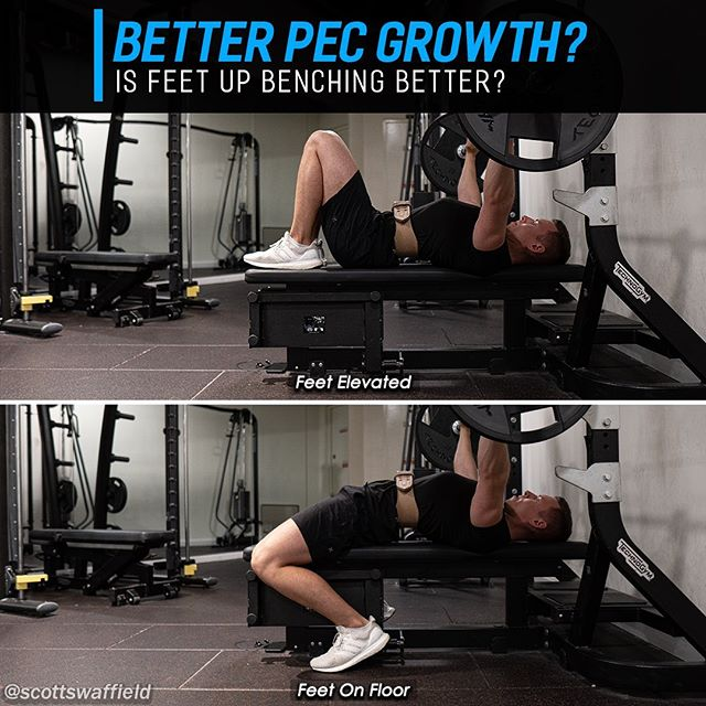 """🔹Does """"Feet Up"""" Benching Lead To Better Chest Growth?🔹 ⠀⠀ It's long been thought by the bro science camp that benching with the feet elevated in the air, or on the bench would lead to better chest growth. The biggest issue with feet up benching is that you will have to use significantly less weight compared to having the feet firmly planted on the ground being able to utilise leg drive. It's important to note that this comparison I mention is between feet up bench, and a powerlifting style bench with an arch of the upper back. ⠀⠀ A recent study by Muyor JM et al. has come out comparing muscle activation between a feet in the air bench and feet on ground with a flat back (not powerlifting arch style). This study gives a win to the gym bros because the findings showed a 9-15% increase in muscle activation for the feet elevated bench press. ⠀⠀ So we now know that feet up benching is superior to feet down benching with a flat back, but a powerlifting style bench with an arch still allows for much greater loads to be lifted. Perhaps in the future there will be a study comparing feet elevated bench and a powerlifting style bench with an arch. ⠀⠀ 🔥 My recommendations from this study would be to prioritise a powerlifting style bench still because of the greater loads able to be lifted, but it looks like feet up benching would now be a viable accessory lift or alternative if a person is unable to perform a powerlifting style bench. ⠀⠀ Some people just get achy and worn down though if they are constantly doing a powerlifting style bench, so feet elevated benching may be a good way to reduce joint strain and loading while still getting high activation of the chest. ⠀⠀ Hope you learned something useful and don't forget to tag a friend who would appreciate reading this. 💪 ⠀⠀ 📚 Muyor JM, et al., Evaluation and comparison of electromyographic activity in bench press with feet on the ground and active hip flexion, PLoS One. 2019. ⠀⠀ #benchpress #benchday #chestday #fitnesstips #bod"""