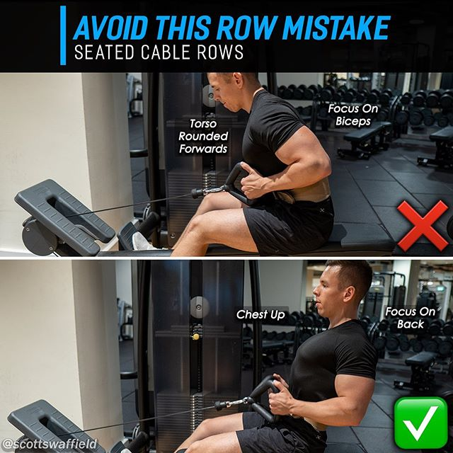 """🔹Avoid This Row Mistake - Seated Cable Rows🔹 ⠀⠀ Seated cable rows are a staple in most training programs due to their effectiveness in targeting the back muscular and ability to help beginners with learning how their body should be set during general pulling movements. ⠀⠀ ✅ The correct way to finish a pull would be with the chest held high ⬆️ and retracting the shoulder blades down and back ↘️↙️, think """"towards your opposite back pockets"""". The handles should make contact around the naval region with a close grip variation. ⠀⠀ 💢 The mistake that is often made with people who start using seated cable rows for the first time is allowing themselves to lean forwards which may seem like a small issue but actually causes a host of problems with the movement. This is typically seen in those who struggle with posture and aren't accustomed to keeping the chest held high. ⠀⠀ Leaning the torso forwards ⬅️ causes the biceps 💪 to become one of the prime movers taking weight off of the target back muscles. It also allows the elbows to come further behind the body which causes anterior humeral glide where the upper portion of the humerus moves forwards in the shoulder socket (the top of the arm bone wants to poke out the front of the shoulder) putting pressure on the front of the shoulder joint capsule and tendons covering it. ⠀⠀ ⠀ 🔥 If you're new to the gym or ever struggled with your rows I hope this helps, don't forget this can apply to almost any rowing variation. ⠀⠀ ⠀ Like and share with a friend who would benefit from seeing this. 👍 ⠀⠀ ⠀ ⠀⠀ ⠀"""