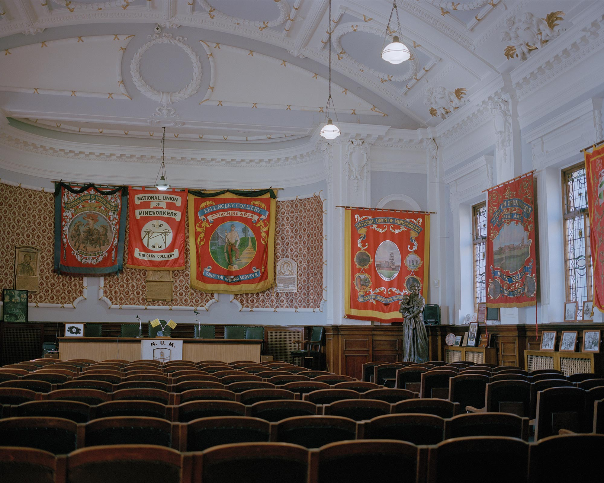 Area banners inside the National Union of Mineworkers headquarters, Barnsley, South Yorkshire.