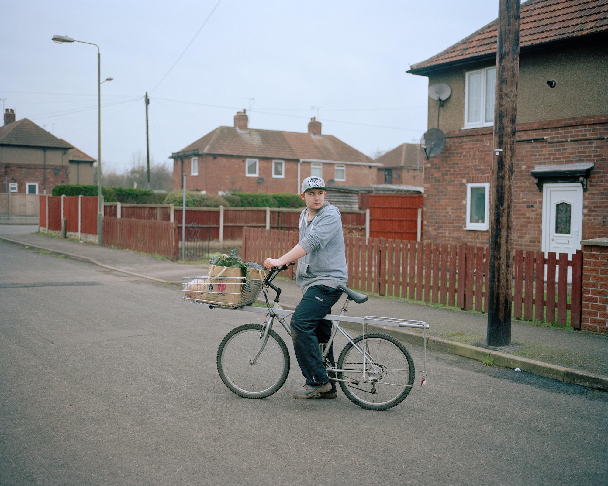 Djay delivering groceries, Langwith, Derbyshire.