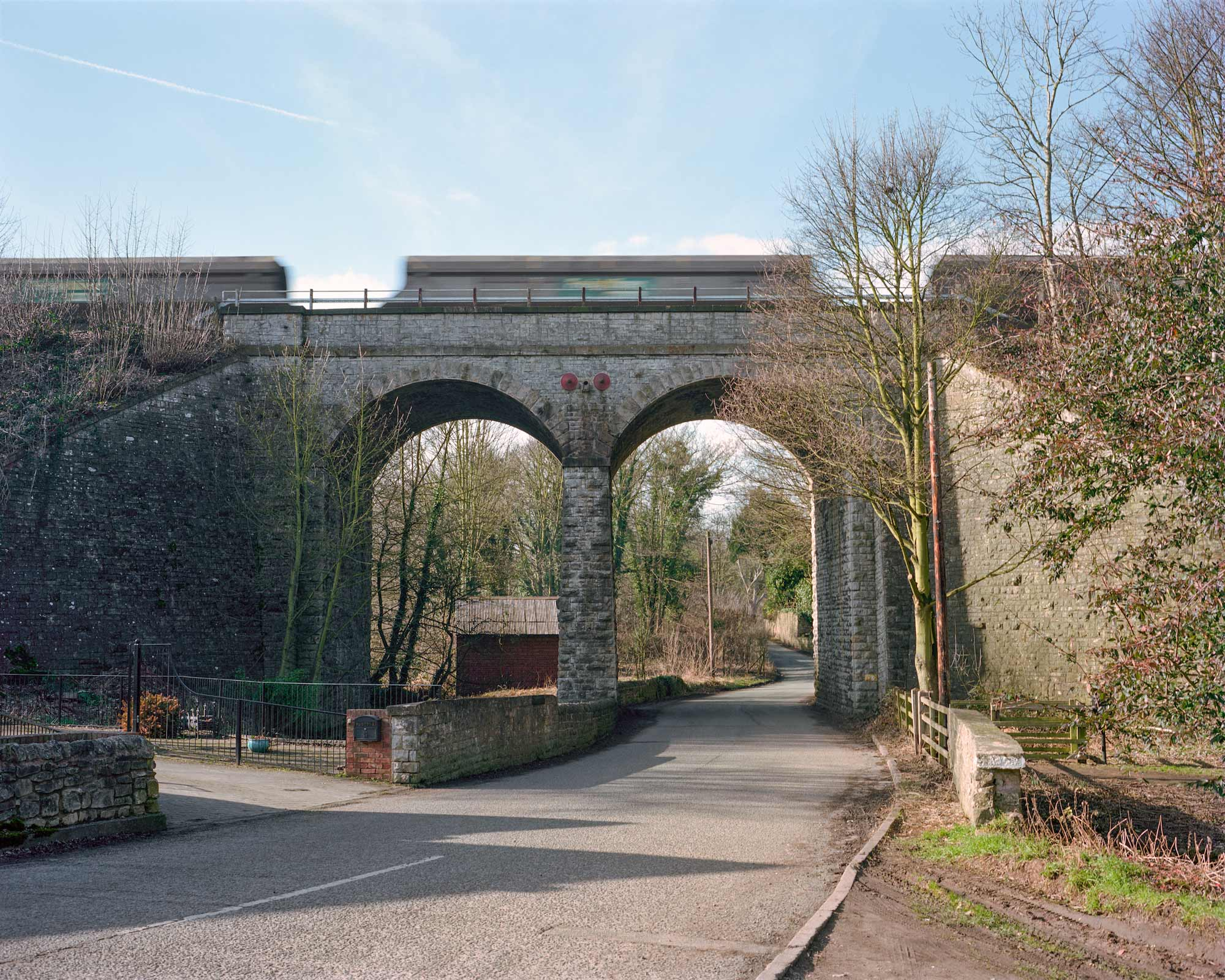 A coal train passing over Langwith viaduct, Derbyshire.
