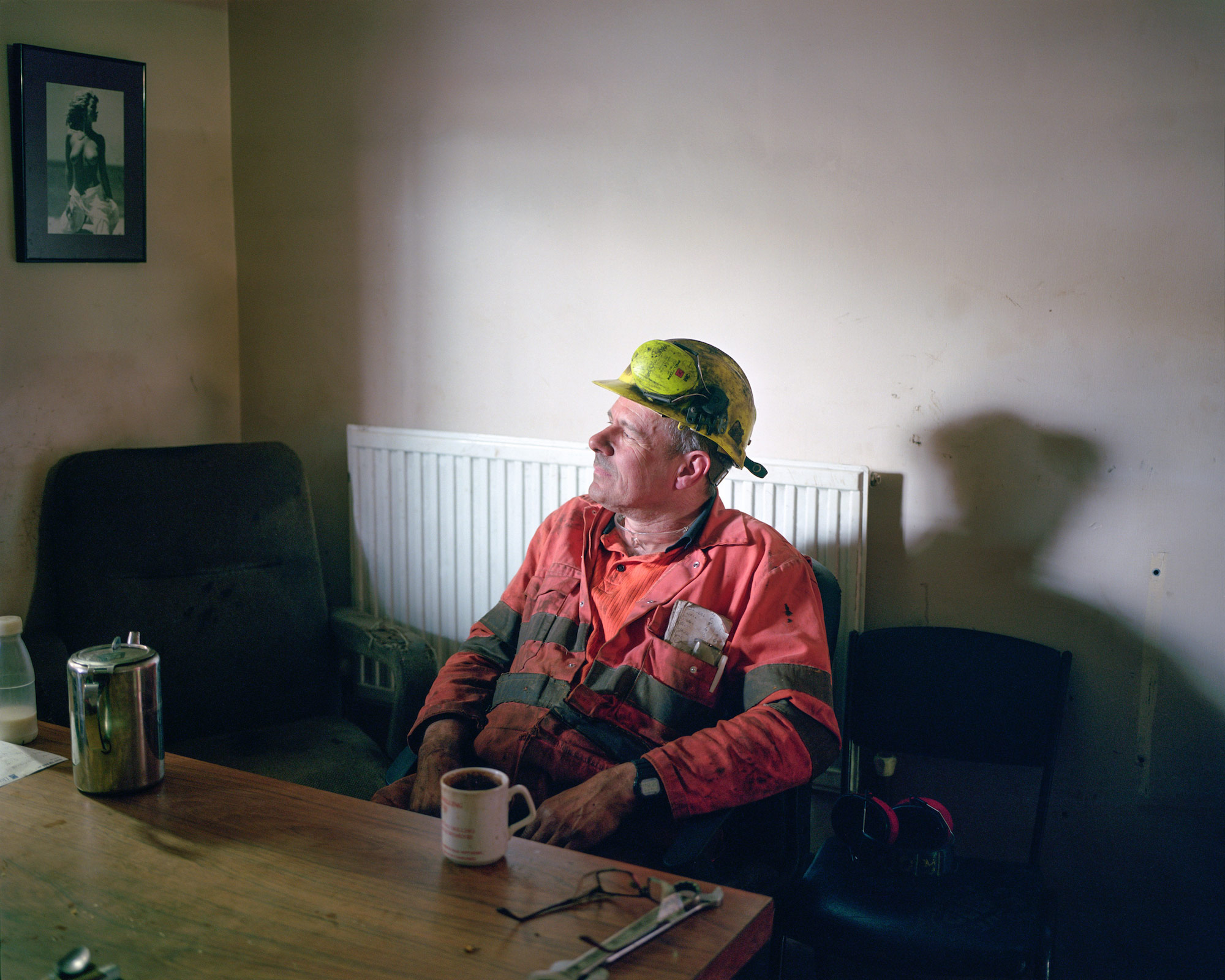 Ashley taking a tea break, Thoresby Colliery, Nottinghamshire.