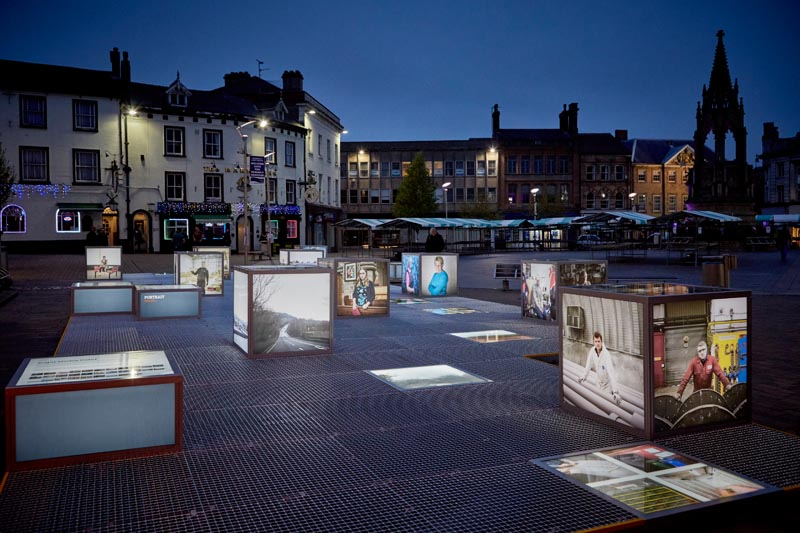 """""""PORTRAIT"""" lightbox exhibition, Mansfield Town market square. Commissioned by First Art and curated by Procu.arte, part of the Flâneur, new urban narratives project."""