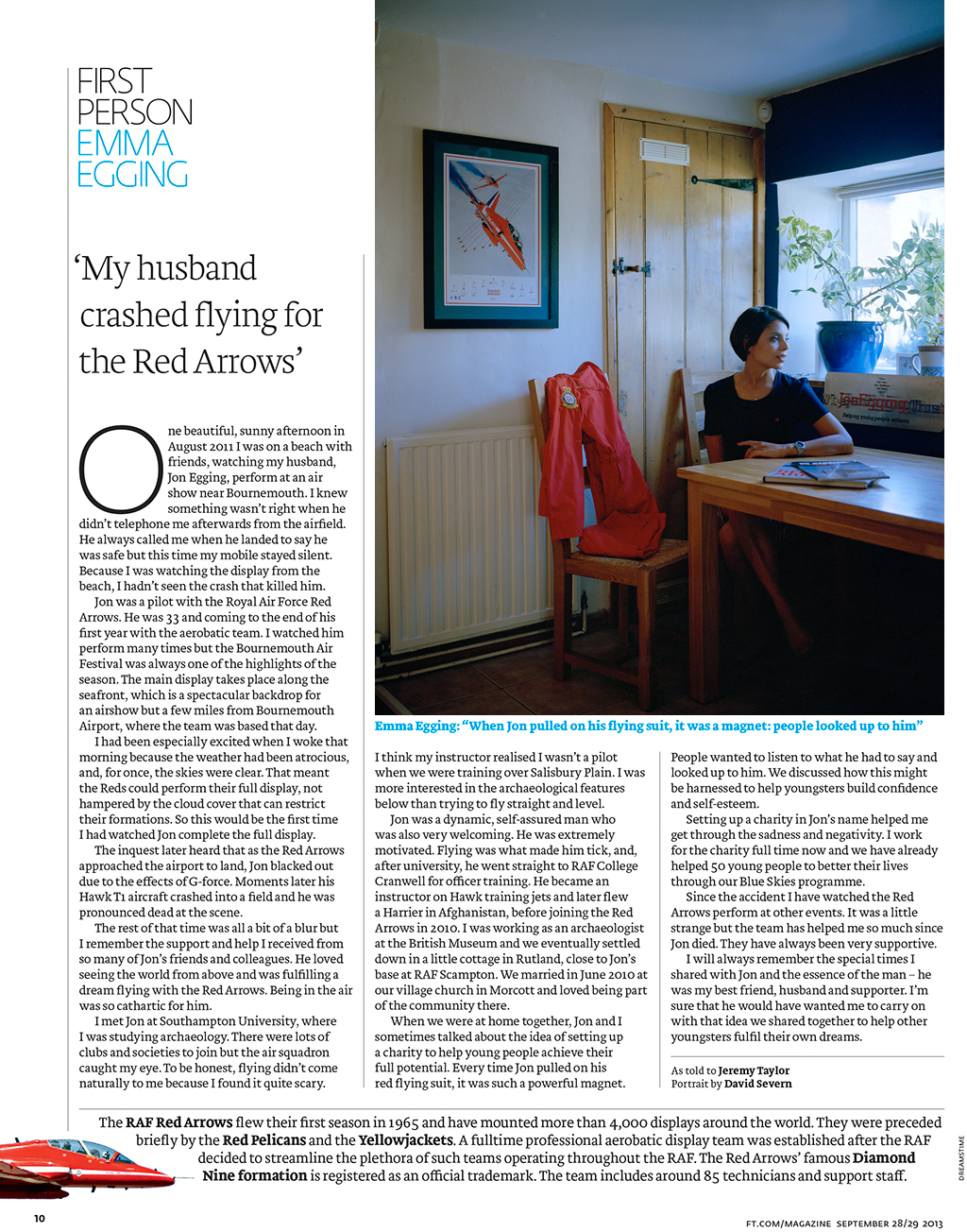 FT Weekend Magazine tearsheet: First Person Interview with Emma Egging