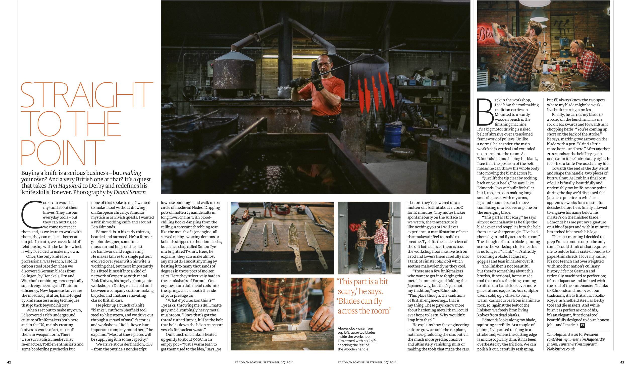 FT Weekend Magazine tearsheet: Knife making with BLOK Knives, Derby.