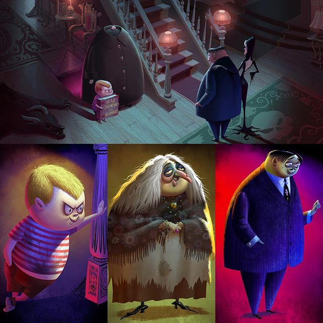 Some Visual Development I did for Addams Family. Characters painted from Craig Kellman designs.